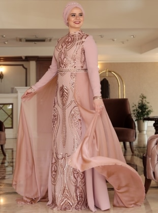 Powder - Multi - Fully Lined - Crew neck - Muslim Plus Size Evening Dress