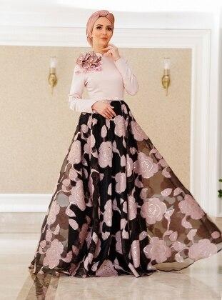 Lâl By Hilal Belinay Abiye Elbise - Pudra Siyah