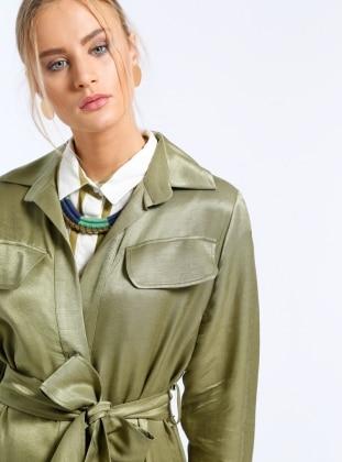 Khaki - Unlined - Point Collar - Trench Coat