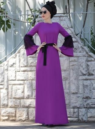 Dantel Detaylı Elbise - Mor