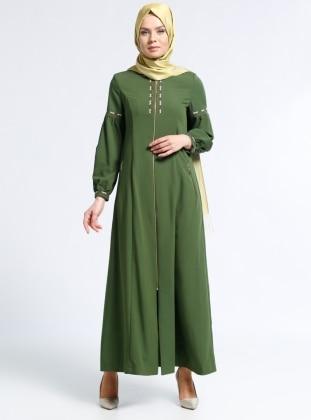 Fermuarlı Ferace - Yeşil Kayra