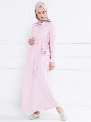 Nakış Detaylı Çizgili Elbise - Pudra