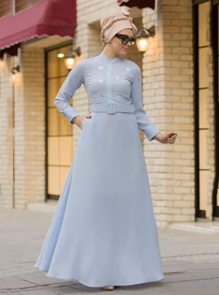 Önü Taş Detaylı Elbise - Bebe Mavi