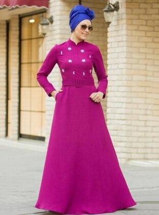 Gizem Kış Önü Taş Detaylı Elbise - Fuşya