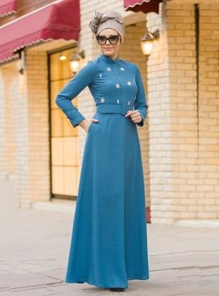 Önü Taş Detaylı Elbise - İndigo
