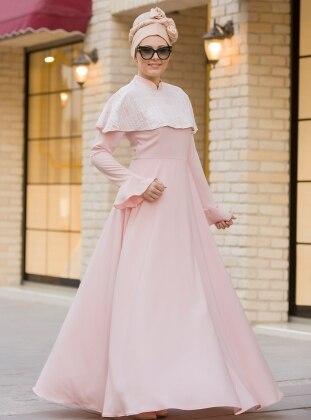Pelerin Dantelli Elbise - Pudra
