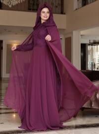 Angel Abiye Elbise - Mürdüm - Saliha