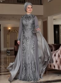 Crew neck - Fully Lined - Multi - Gray - Muslim Plus Size Evening Dress