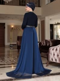 Navy Blue - Multi - Fully Lined - Crew neck - Muslim Plus Size Evening Dress