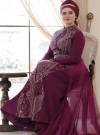 Saliha Aysira Abiye Elbise - Mürdüm - Saliha