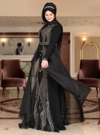 Black - Multi - Fully Lined - Crew neck - Muslim Plus Size Evening Dress