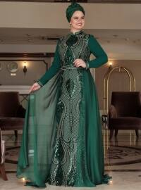 Green - Multi - Fully Lined - Crew neck - Muslim Plus Size Evening Dress