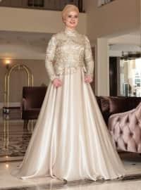 Saliha Çiçek Abiye Elbise - Gold - Saliha