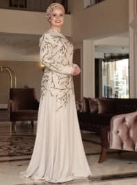 Saliha Dilşad Abiye Elbise - Gold - Saliha