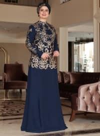 Saliha Şehrazat Abiye Elbise - Lacivert - Saliha