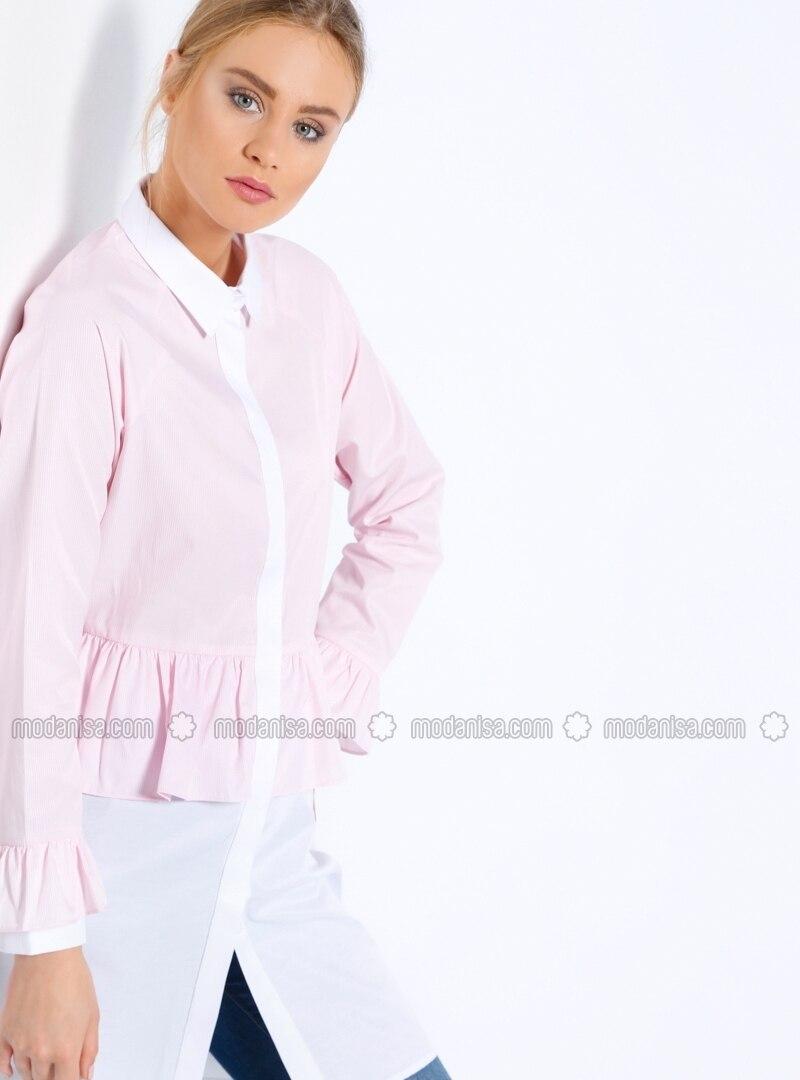 Ecru - Pink - White - Stripe - Point Collar - Tunic