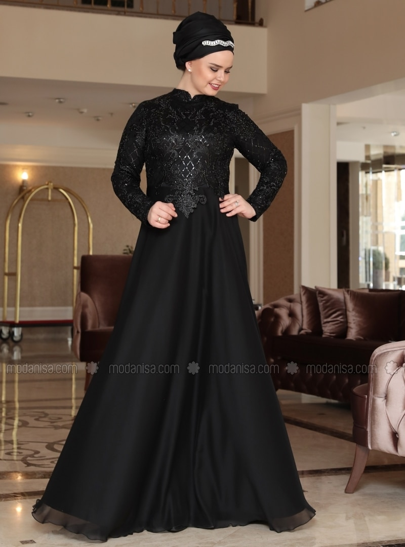 Crew neck - Fully Lined - Black - Muslim Plus Size Evening Dress