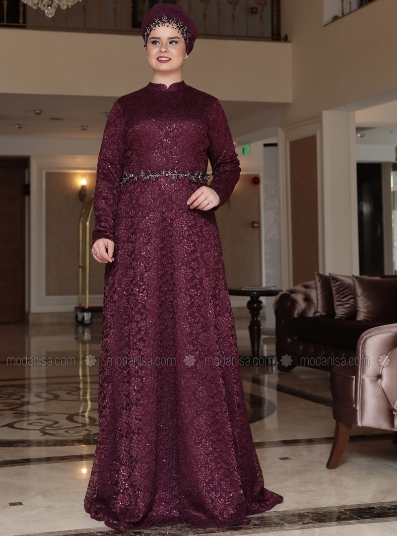 Purple - Multi - Fully Lined - Crew neck - Muslim Plus Size Evening Dress