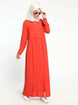 Boydan Düğmeli Elbise - Mercan