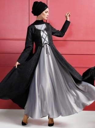 Kaftanlı Abiye Elbise - Gri Siyah