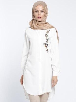 Nakış İşlemeli Tunik - Beyaz