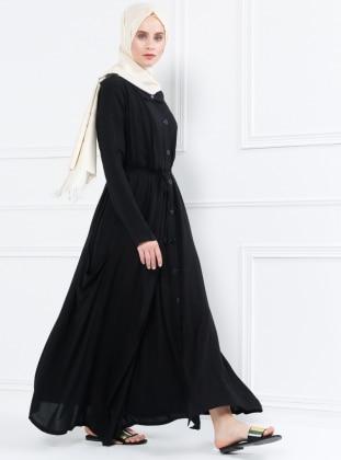 Naturel Kumaşlı Boydan Düğmeli Elbise - Siyah