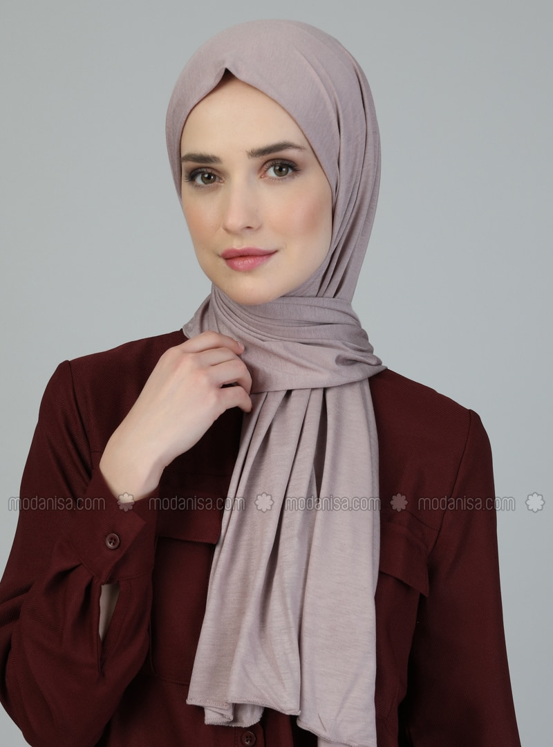 Pink - Plain - Viscose - Shawl