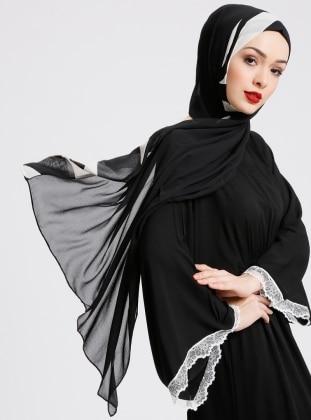 Black - Printed - Chiffon - Shawl - Eşarp