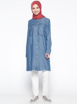 Çıt Çıtlı Tensel Tunik - Mavi