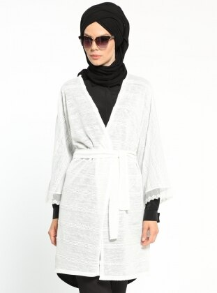 Dantel Detaylı Kimono - Beyaz