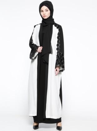 Dantelli Abaya - Siyah Beyaz
