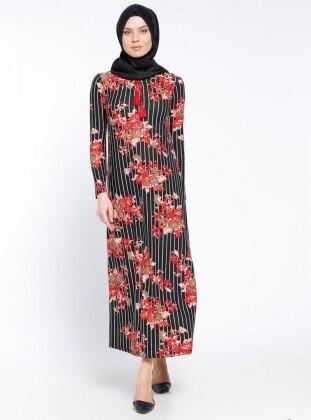 Desenli Elbise - Kırmızı Dadali