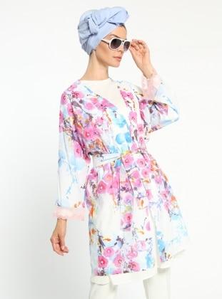 Desenli Kimono - Pembe