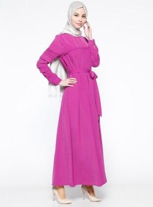 Drape Detaylı Elbise - Fuşya