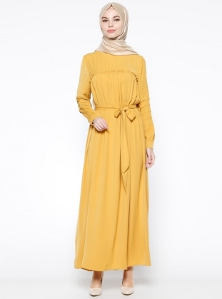 Drape Detaylı Elbise - Hardal