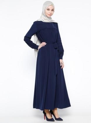 Drape Detaylı Elbise - Lacivert