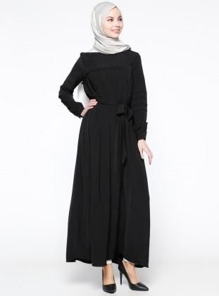 Drape Detaylı Elbise - Siyah
