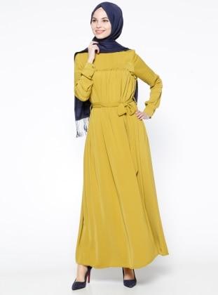 Drape Detaylı Elbise -Fıstık Yeşili