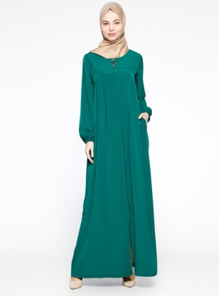 Fermuarlı Ferace - Yeşil