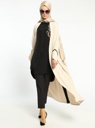 Meryem Acar Garni Detaylı Abaya - Krem