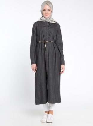Sultan-ı Yegah Gizli Düğmeli Kot Kap - Siyah