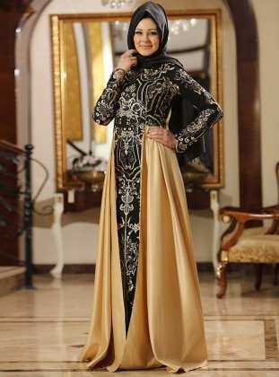 Gonca Abiye Elbise - Siyah