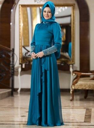 Gizem Kış İnci Abiye Elbise - Mavi