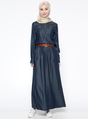 Kemerli Tensel Elbise - Lacivert