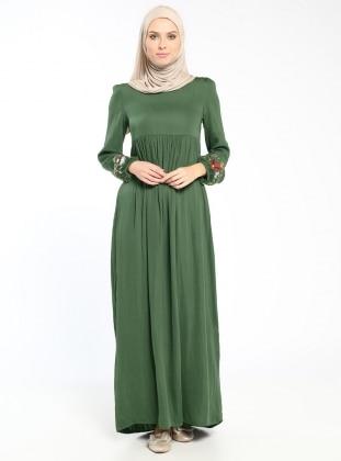 Nakış Detaylı Elbise - Haki