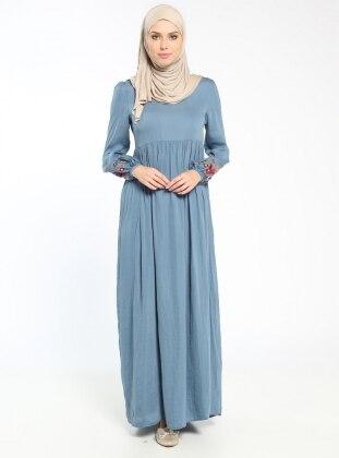 Nakış Detaylı Elbise - İndigo