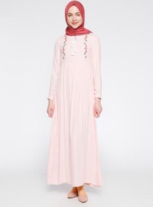 Nakış Detaylı Elbise - Pudra