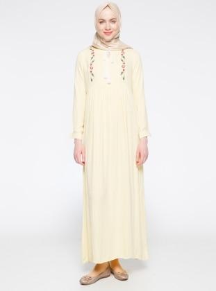 Nakış Detaylı Elbise - Sarı