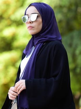 Chiffon - Plain - Purple - Shawl -  Eşarp