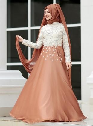 Papatya Abiye Elbise - Kiremit Gamze Özkul